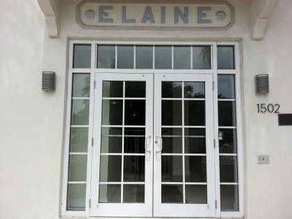 "entryway with ""Elaine"" signage above"