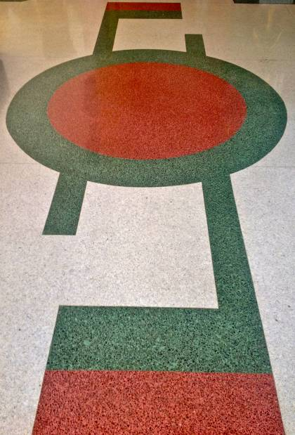 Terrazzo floor design in the lobby of the Marlin Hotel
