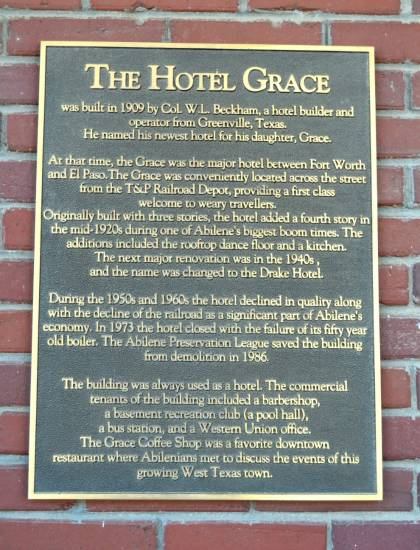 Historical marker about The Hotel Grace